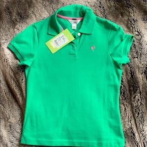 Lilly Pulitzer SzS (XS) Fronds Green Baby Fit Polo